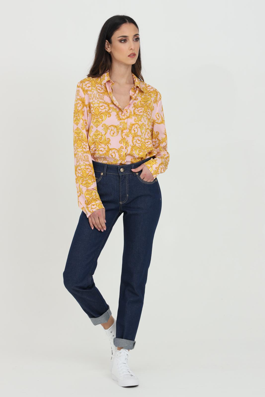 Denim a vita alta impuntura oro VERSACE JEANS COUTURE   Jeans   A1HWA0SIAQ954904