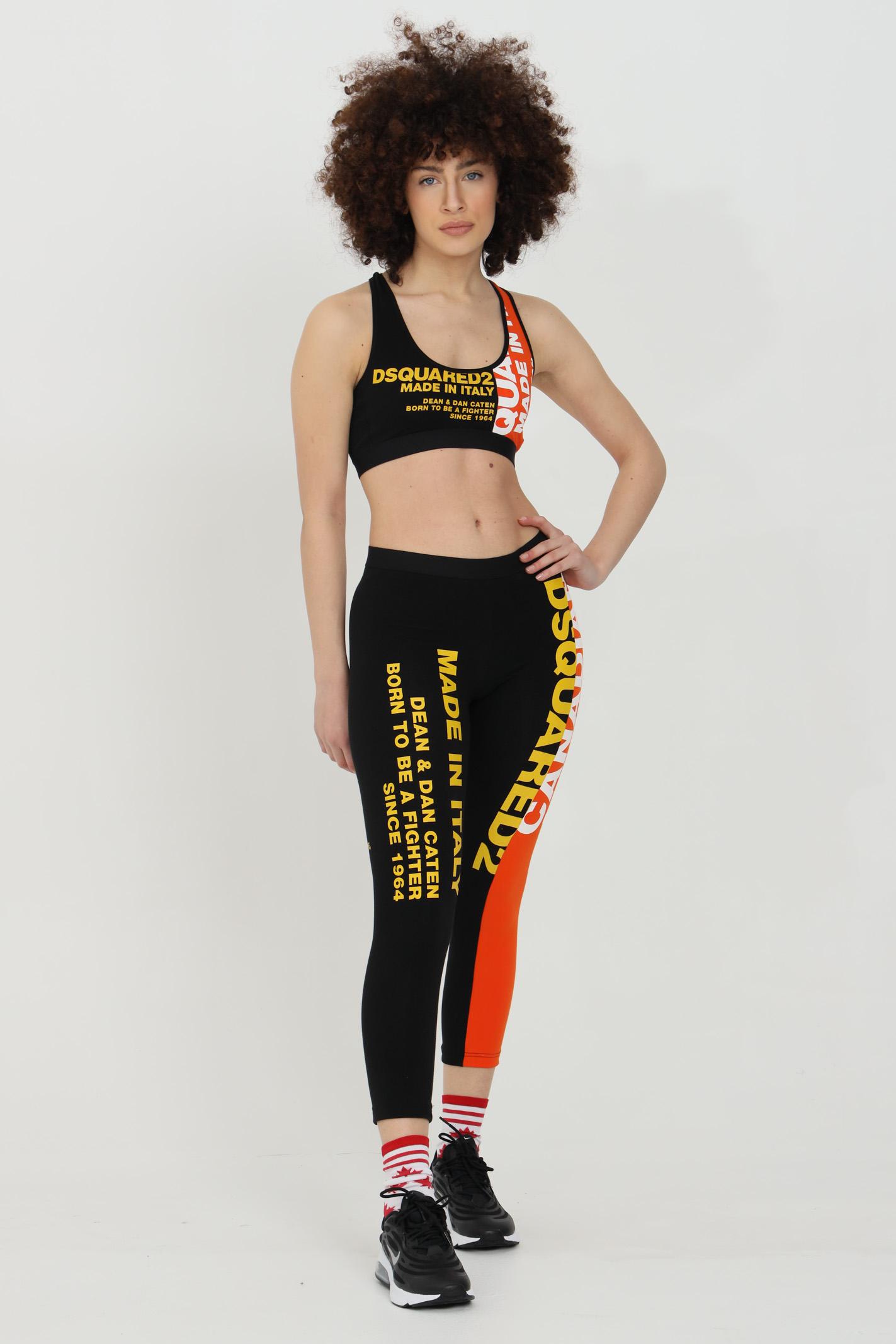 Leggings donna nero-arancio dsquared2 con stampe lettering laterali. Modello slim DSQUARED2 | Leggings | D8N473530018