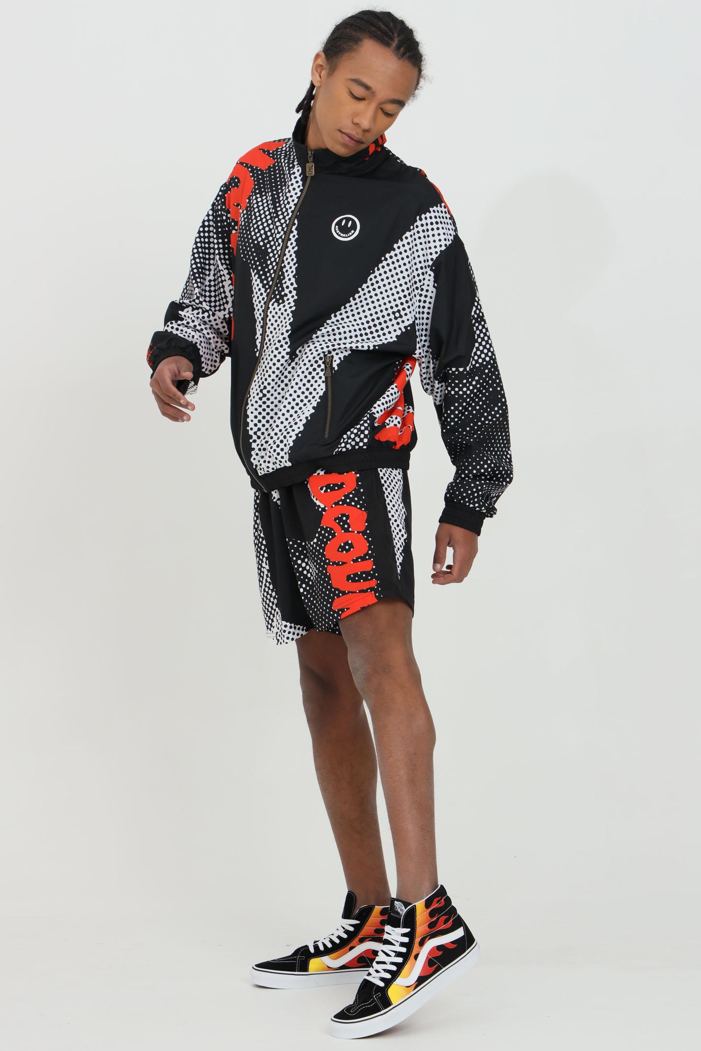 Giacca a vento uomo nero Australian con stampa e chiusura con zip.Tasche laterali. Polsini e fondo con elastici AUSTRALIAN | Giubbotti | HCUGC0005003