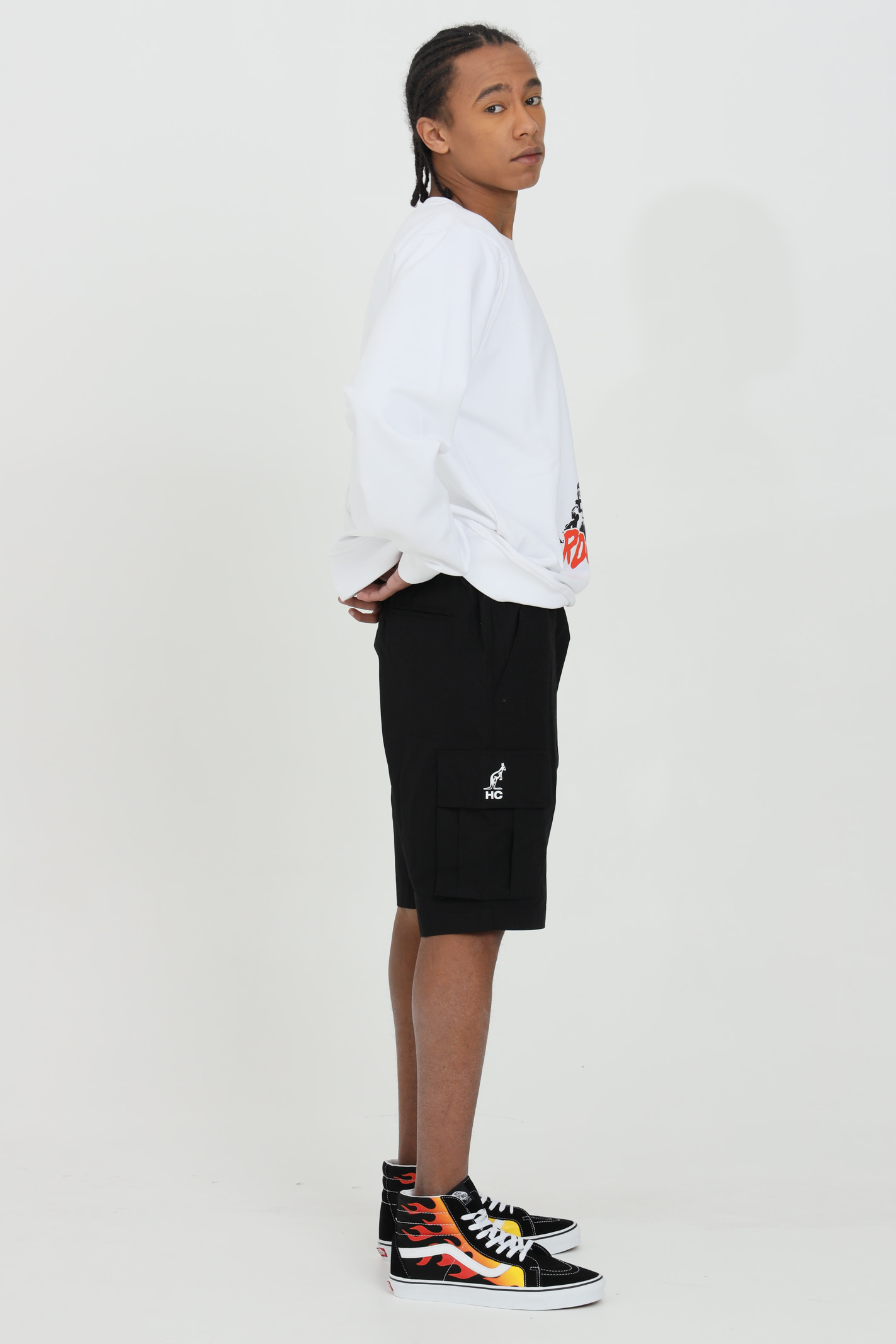 Felpa uomo bianco australian girocollo con stampa frontale modello comodo con elastico sul fondo AUSTRALIAN | Felpe | HCUFE0017002
