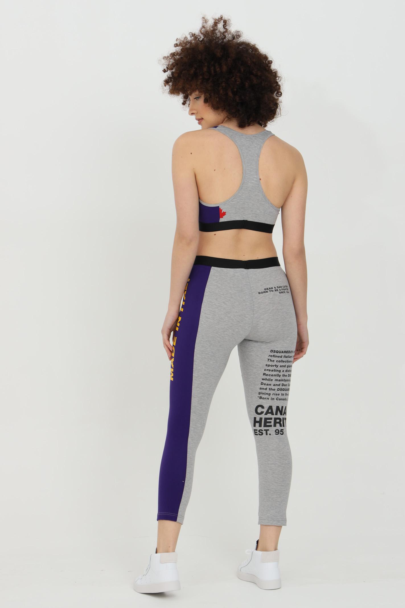 Top donna grigio-viola dsquared2 sport con stampa lettering. Taglio corto DSQUARED2 | Top | D8RG23530038